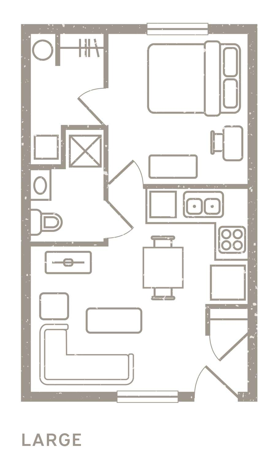 1 Bedroom Floorplan 2