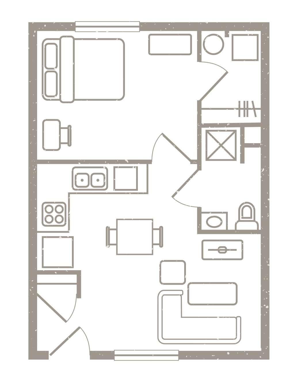 1 Bedroom Floorplan 1