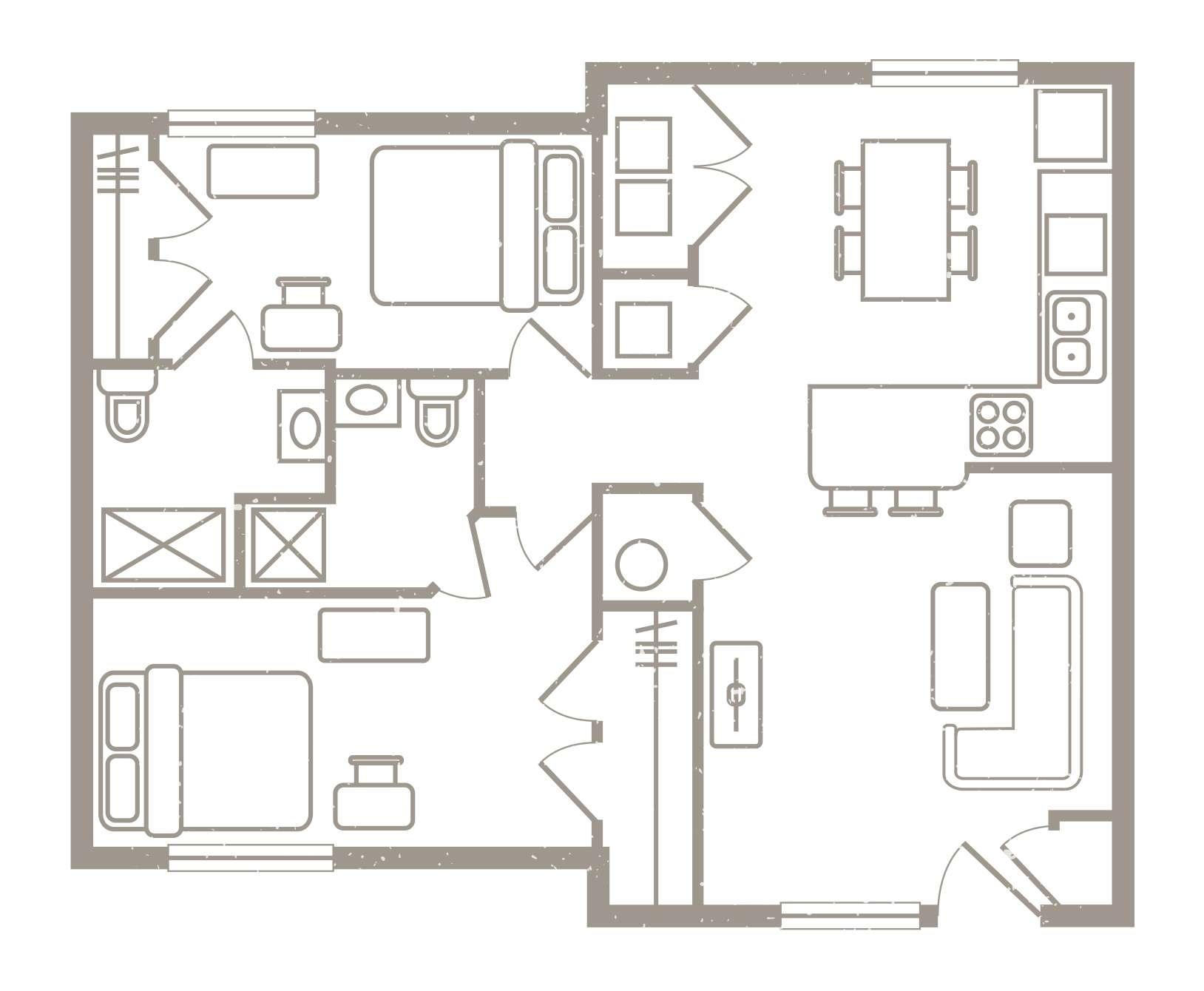 2 Bedroom Floorplan 3